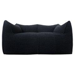 Le Bambole Sofa by Mario Bellini for B&B Italia, Black Bouclette Fabric, 1970s