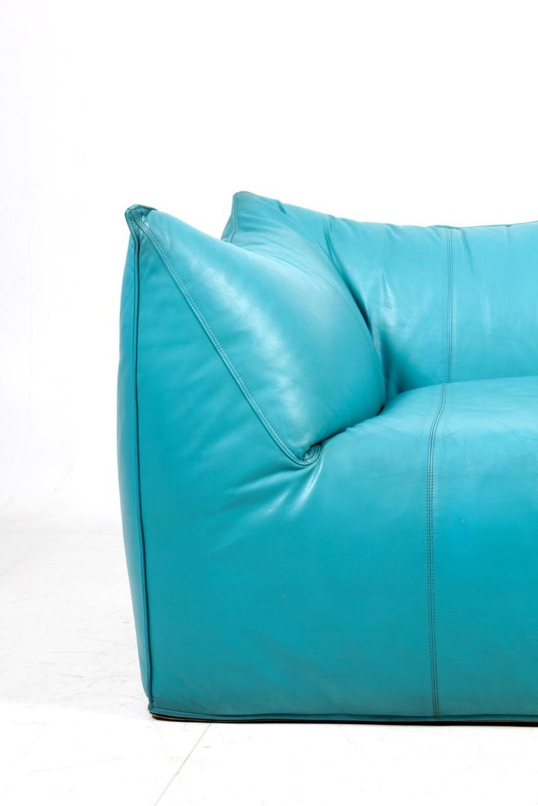 Great looking sofa blue leather. Designed Mario Bellini and made by B&B Italia. The sofa been cleaned, waxed and is from a non-smoker home. Original condition.