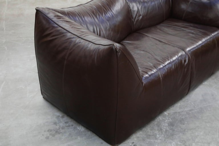'Le Bambole' Thick Hide Leather Loveseat by Mario Bellini for B&B Italia, Signed For Sale 8