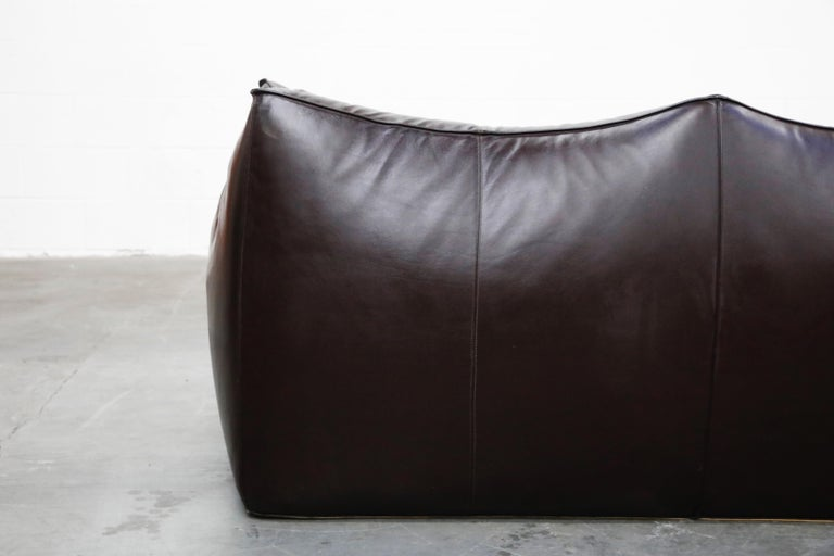 'Le Bambole' Thick Hide Leather Loveseat by Mario Bellini for B&B Italia, Signed For Sale 13