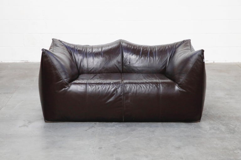 Modern 'Le Bambole' Thick Hide Leather Loveseat by Mario Bellini for B&B Italia, Signed For Sale