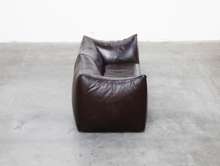 'Le Bambole' Thick Hide Leather Loveseat by Mario Bellini for B&B Italia, Signed For Sale 1