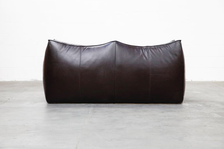 'Le Bambole' Thick Hide Leather Loveseat by Mario Bellini for B&B Italia, Signed For Sale 3