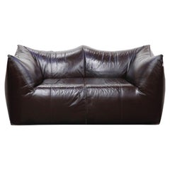 'Le Bambole' Thick Hide Leather Loveseat by Mario Bellini for B&B Italia, Signed