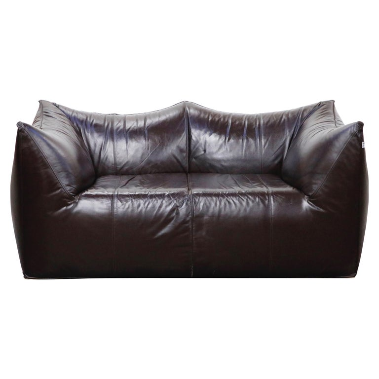 'Le Bambole' Thick Hide Leather Loveseat by Mario Bellini for B&B Italia, Signed For Sale
