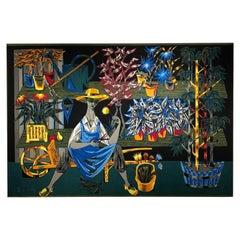 """Le Botaniste"" Vintage French Tapestry by Robert Debievre"