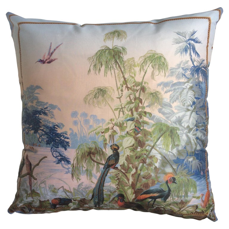 """Le Bresil Birds"" Silk Throw Pillow by Zuber For Sale"