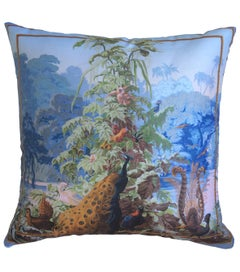 """Le Bresil"" Peacock Silk Throw Pillow in Blue by Zuber"