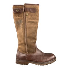 LE CHAMEAU Size 9.5 Brown Two Tone Leather Tall Work Boots