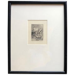 """Le Chapeau Epingle"" by Pierre Auguste Renoir Framed Dry Point Etching, 1894"
