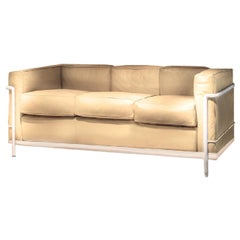Modern Le Corbusier Cassina LC2 3-Seat Sofa White frame Beige Leather Midcentury