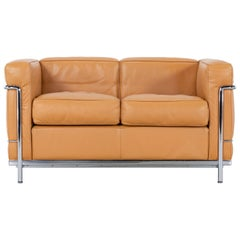 Le Corbusier Ch. Perriand LC2 Sofa Cassina in Cognac Leather, Signed & Stamped