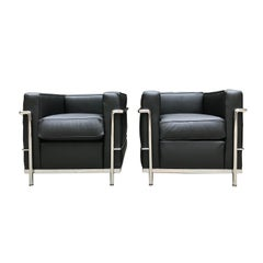 Le Corbusier/ Charlotte Perriand Pair of armchairs LC2
