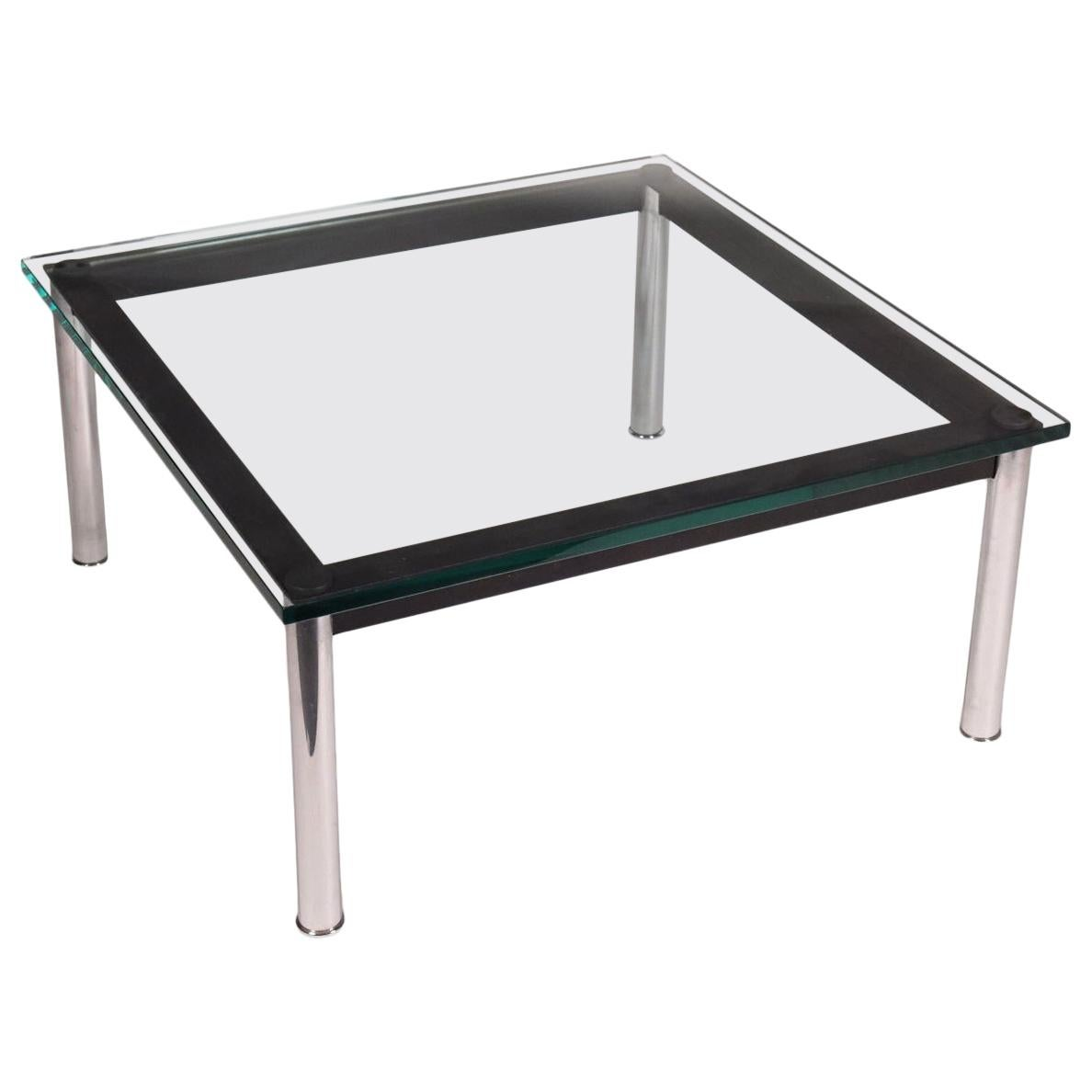 Le Corbusier Coffee Table Enamelled Chromed Metal Glass, 1990s