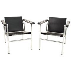 Le Corbusier for Cassina LC1 Black Leather Occasional Lounge Chairs, Pair
