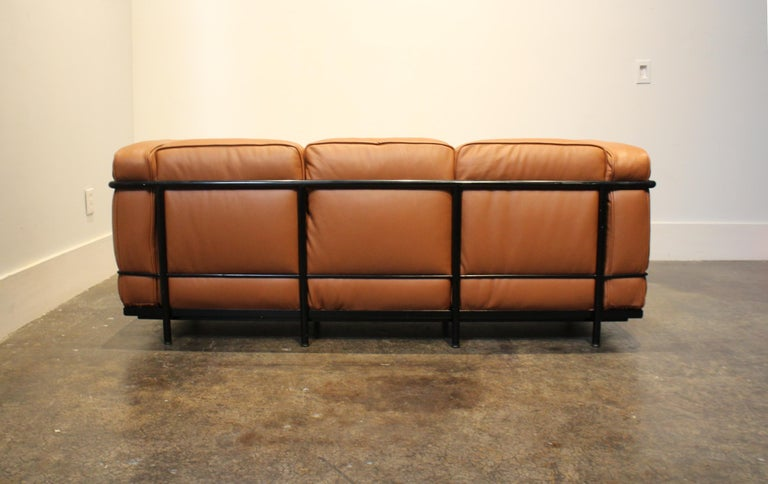 Le Corbusier For Cassina Lc2 3 Seat Sofa In Brown Leather