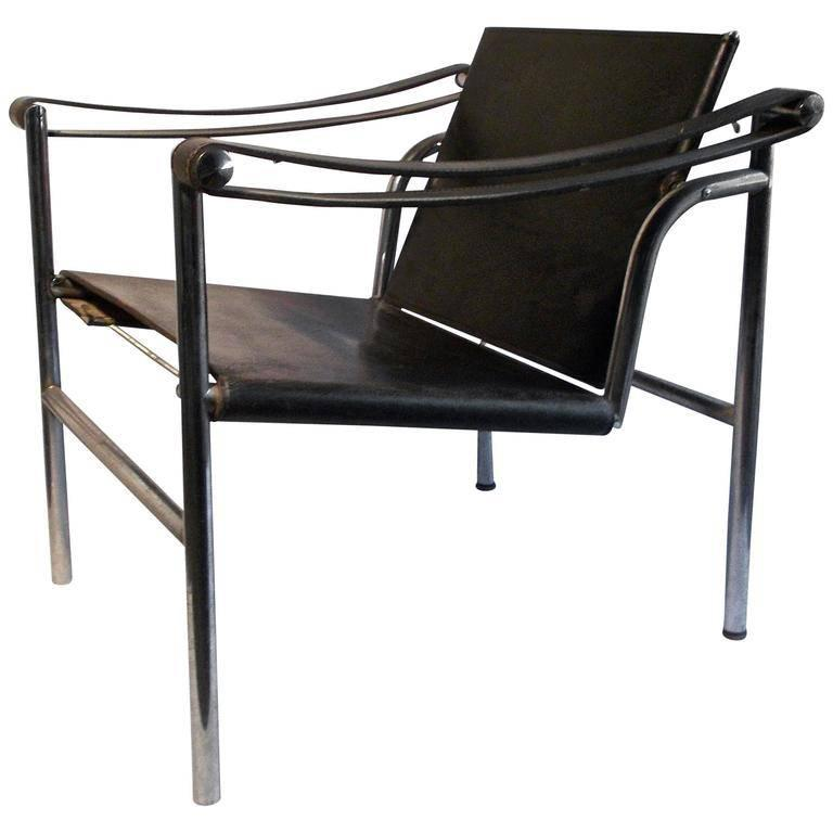 Le Corbusier LC1 Signed Cassina Basculant Chair in Black Leather