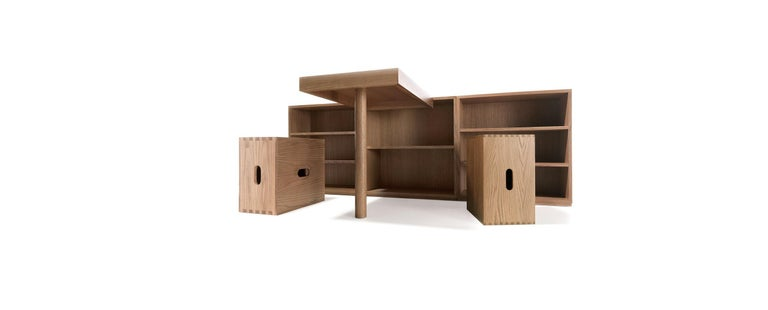 Mid-Century Modern Le Corbusier LC16 Desk and Shelve with Maison du Brésil and Cabanon Stools Set For Sale