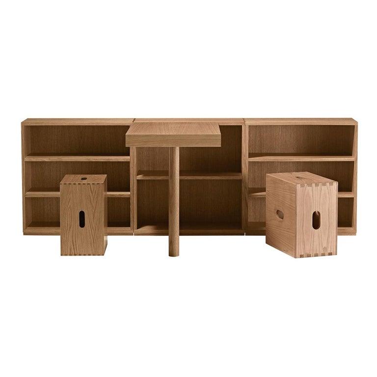 Le Corbusier LC16 Desk and Shelve with Maison du Brésil and Cabanon Stools Set For Sale