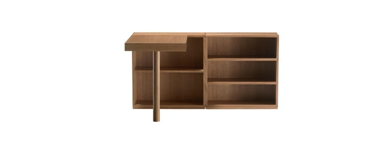 Writing desk designed by Le Corbusier in 1957. Relaunched in 2010. Manufactured by Cassina in Italy.  Defying the laws of physics, going beyond what we normally understand by the conditions of equilibrium, this bookcase is nothing short of a