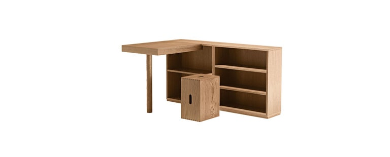 Mid-Century Modern Le Corbusier LC16 Writing Wood Desk and Shelve by Cassina For Sale