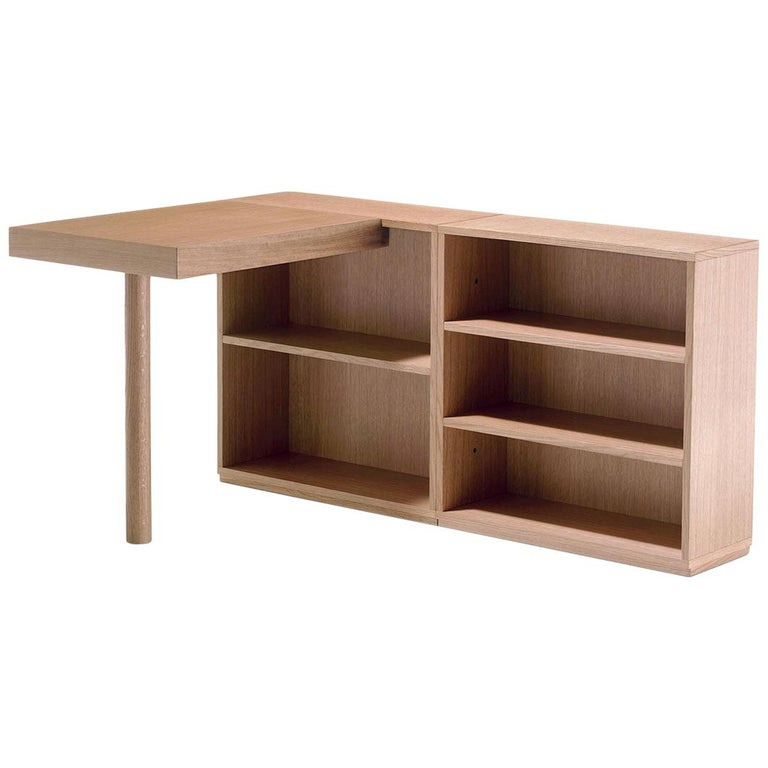 Le Corbusier LC16 Writing Wood Desk and Shelve by Cassina For Sale