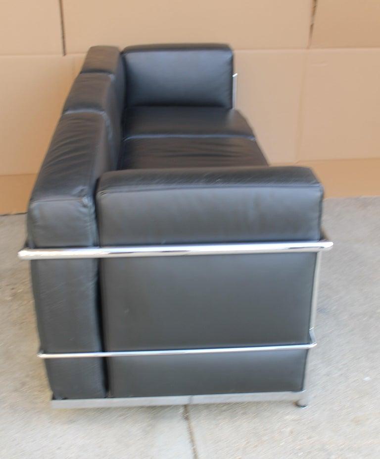 Italian Le Corbusier LC2 Black Leather Three-Seat Sofa for Alivar For Sale