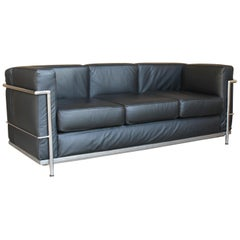 Le Corbusier LC2 Black Leather Three-Seat Sofa for Alivar