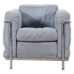 Le Corbusier LC2 Cassina Petit Confort Gray Chamois Leather Armchair Italia 70s