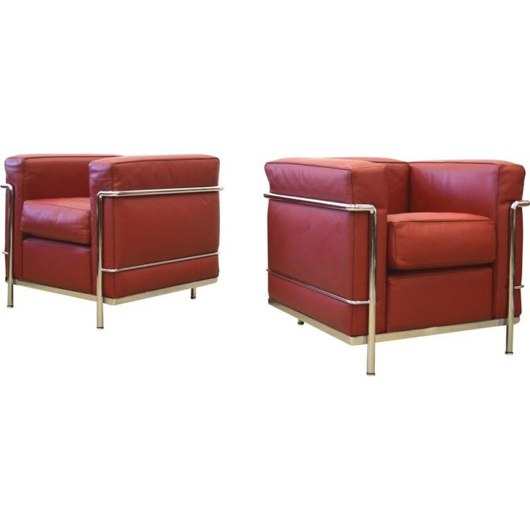 20th Century Le Corbusier LC2 Leather Armchair Chair by Cassina Deep Red and chrome  For Sale