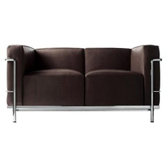 Le Corbusier LC2 Leather Two-Seat Sofa Cassina Espresso & Chrome Modern Loveseat