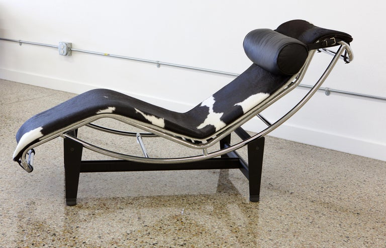 Le Corbusier LC4 Chaise with Chrome Frame, Natural Hide by Gordon International 2