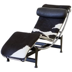 Le Corbusier LC4 Chaise with Chrome Frame, Natural Hide by Gordon International
