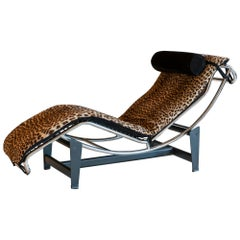 Le Corbusier LC4 Lounge Chair in Leopard Skin and Black Suede, Italy, 1970s