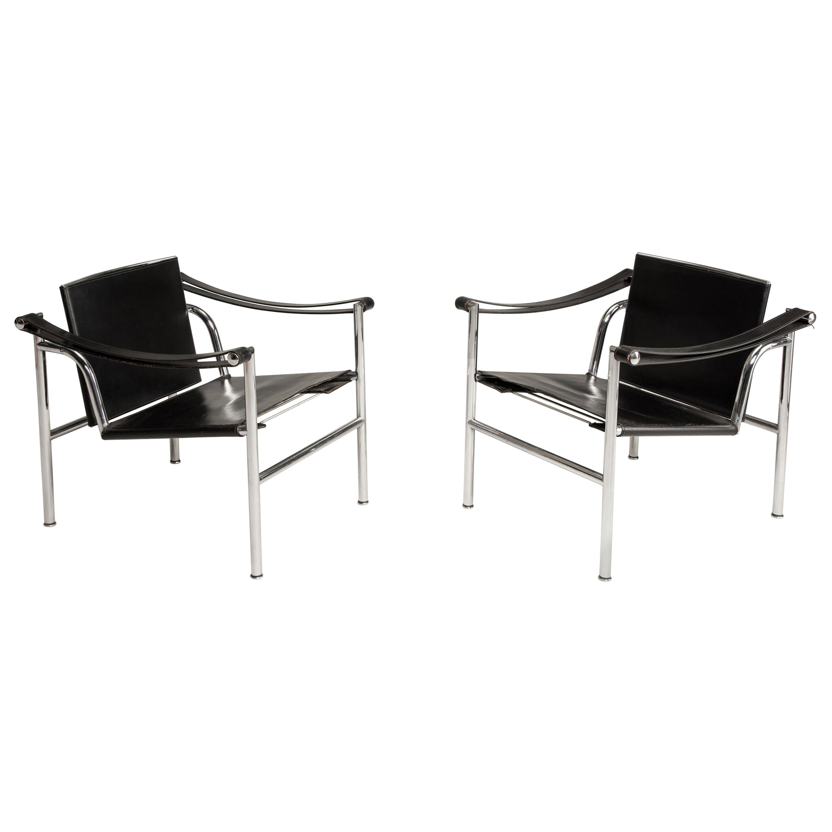 Le Corbusier Numbered Steel and Black Leather LC1 Chairs for Cassina, 1970s
