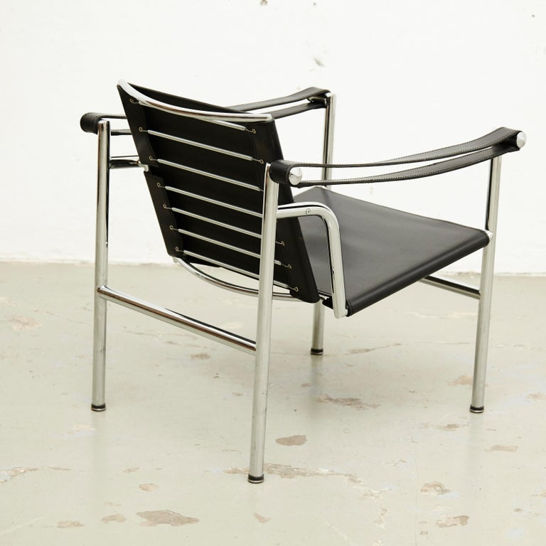 Le Corbusier, Pierre Jeanneret Charlotte Perriand LC1 Black Leather Lounge Chair For Sale 4
