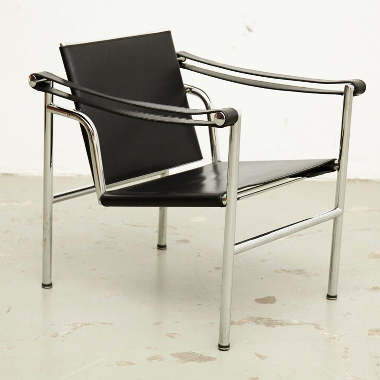Le Corbusier, Pierre Jeanneret Charlotte Perriand LC1 Black Leather Lounge Chair For Sale 7