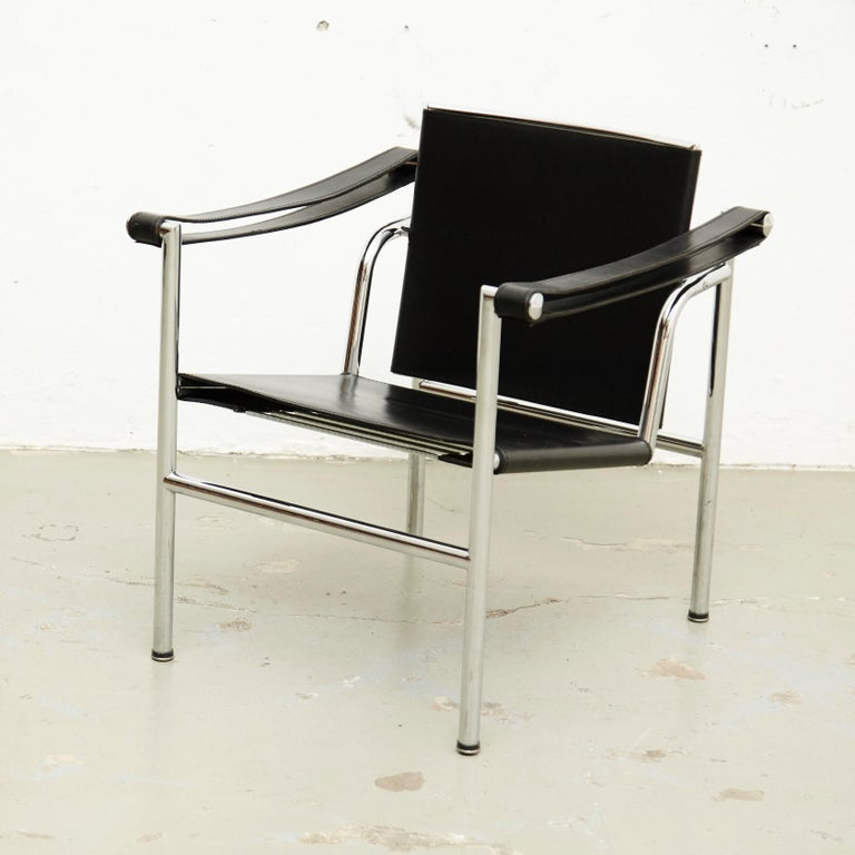 Mid-Century Modern Le Corbusier, Pierre Jeanneret Charlotte Perriand LC1 Black Leather Lounge Chair For Sale