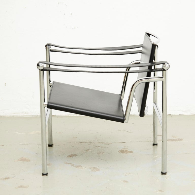 French Le Corbusier, Pierre Jeanneret Charlotte Perriand LC1 Black Leather Lounge Chair For Sale