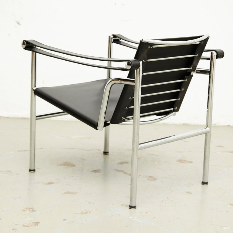 Le Corbusier, Pierre Jeanneret Charlotte Perriand LC1 Black Leather Lounge Chair For Sale 2