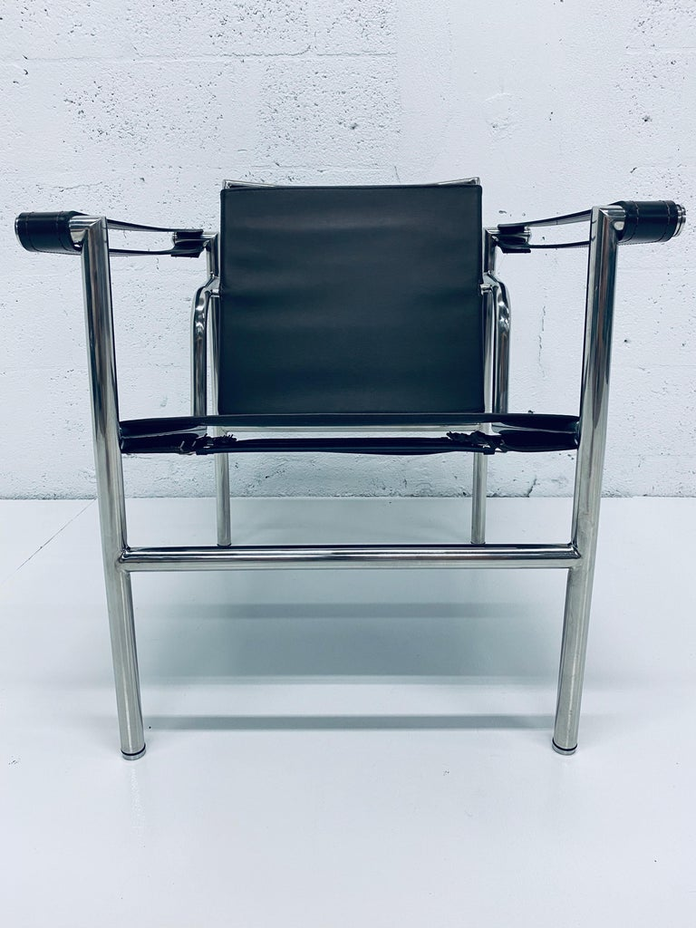 Mid-Century Modern Le Corbusier, Pierre Jeanneret Charlotte Perriand LC1 Brown Leather Lounge Chair For Sale