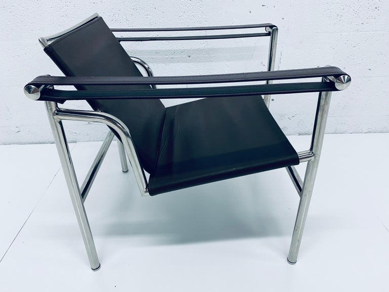 Unknown Le Corbusier, Pierre Jeanneret Charlotte Perriand LC1 Brown Leather Lounge Chair For Sale
