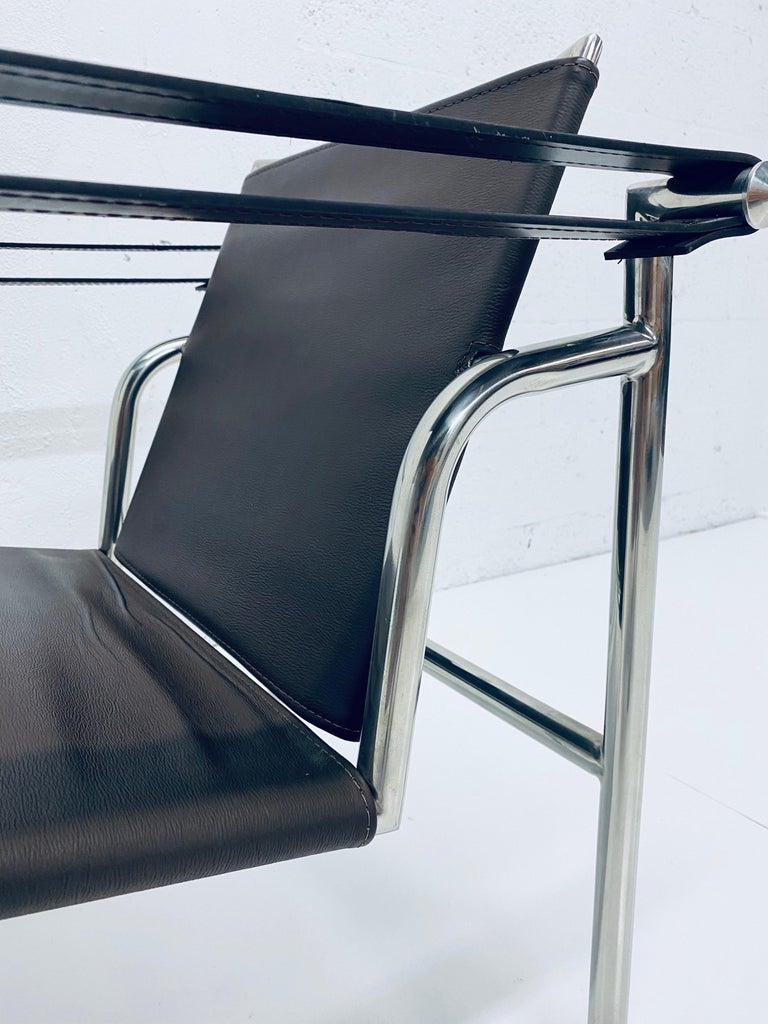 Le Corbusier, Pierre Jeanneret Charlotte Perriand LC1 Brown Leather Lounge Chair For Sale 2
