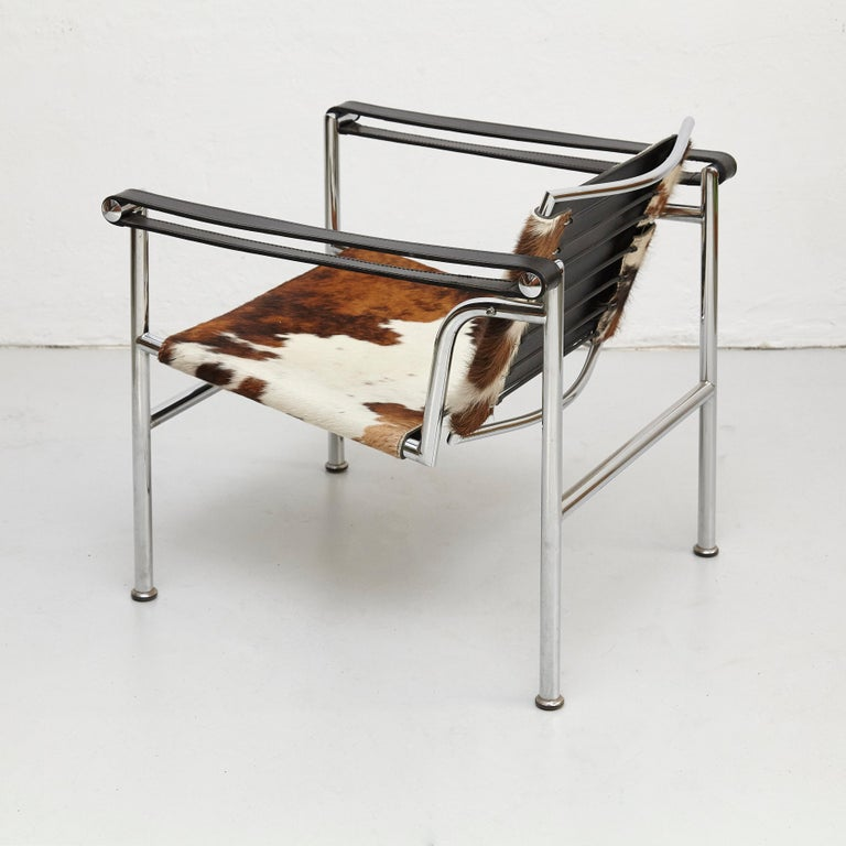 Le Corbusier, Pierre Jeanneret and Charlotte Perriand LC1 Pony Skin lounge chair  chromed steel, leather and pony skin. By unknown manufacturer. Manufactured circa 1970.  In good original condition with minor wear consistent of age and use,