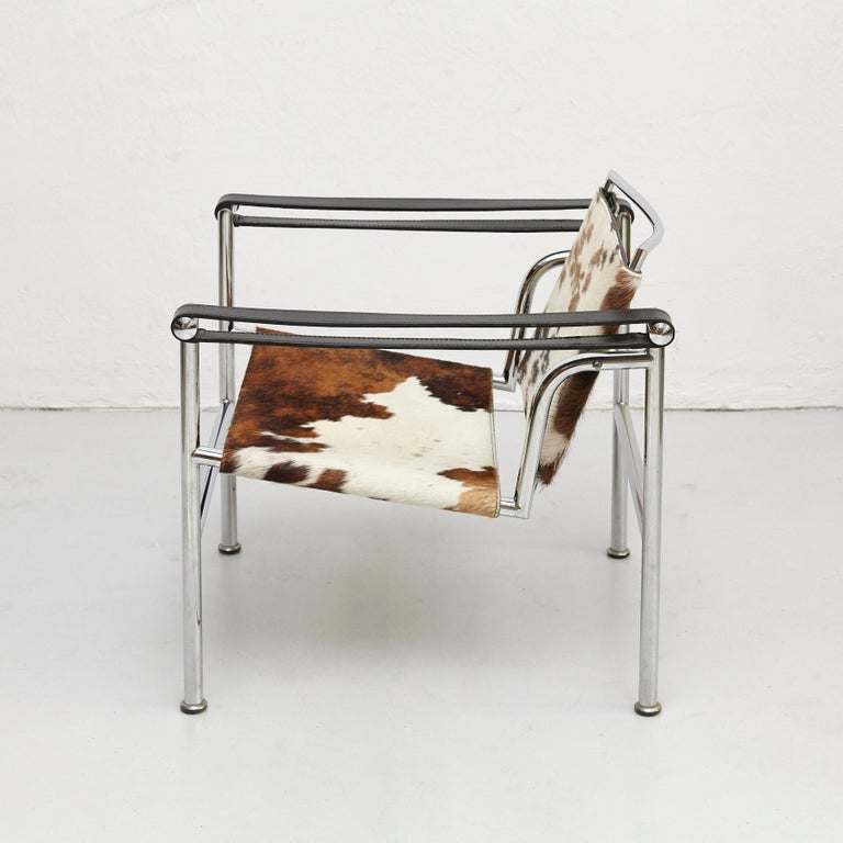 Mid-Century Modern Le Corbusier, Pierre Jeanneret, Charlotte Perriand LC1 Pony Skin Lounge Chair For Sale