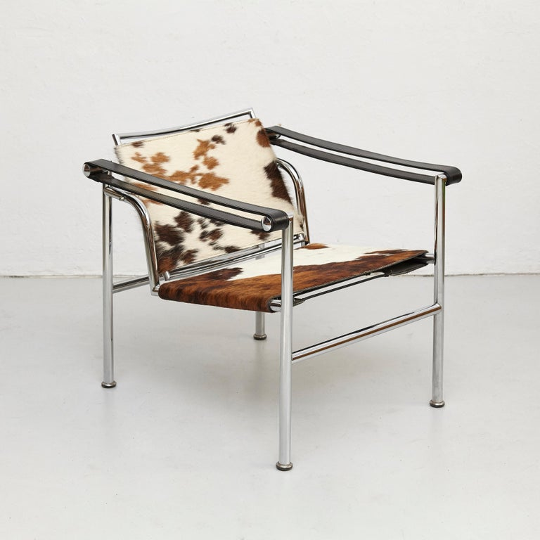 French Le Corbusier, Pierre Jeanneret, Charlotte Perriand LC1 Pony Skin Lounge Chair For Sale