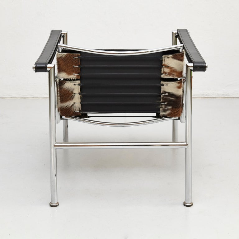 Le Corbusier, Pierre Jeanneret, Charlotte Perriand LC1 Pony Skin Lounge Chair In Good Condition For Sale In Barcelona, Barcelona