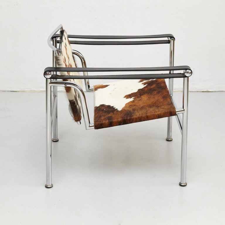 Metal Le Corbusier, Pierre Jeanneret, Charlotte Perriand LC1 Pony Skin Lounge Chair For Sale