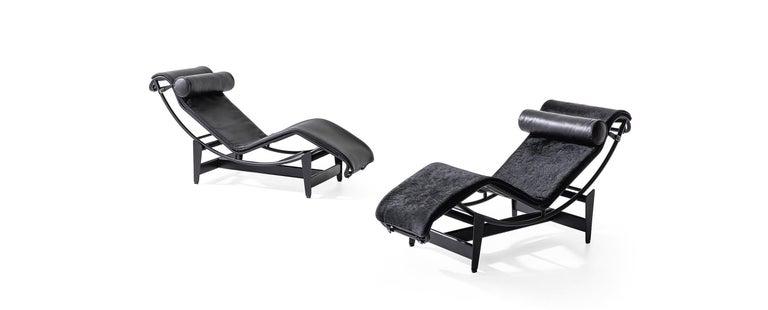 Italian Le Corbusier, Pierre Jeanneret, Charlotte Perriand LC4 Noire Chaise Lounge For Sale