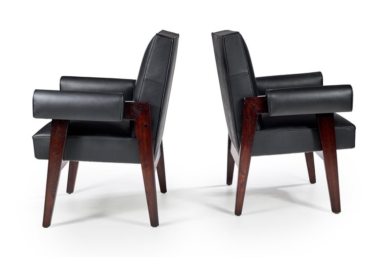 """Le Corbusier + Pierre Jeanneret LC/PJ-SI-41-A Important: Vintage collector's item for sale with guaranteed authenticity.  Armchair called """"Advocate and Press Chair"""", circa 1955-1956 Solid teak, black leather Common Le Corbusier and Pierre"""